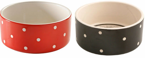 Mason Cash Large Pet Bowl Dog Bowl Polka Dot Pet Dish Food / Water Bowls