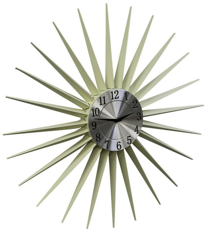 Large Metal Contemporary Sun Design Feature Wall Clock 59 x 59cm Cream & Silver