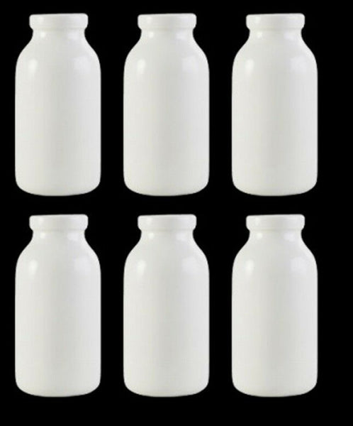 Set of 6 Mini Porcelain White Milk Bottles