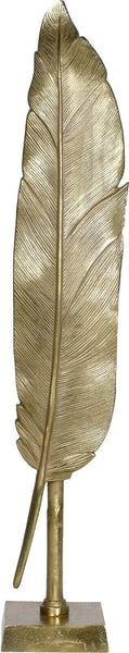 67cm Tall Gold Metal Feather Art Deco Feather Decoration on Stand