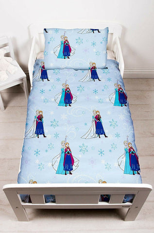 Disney Frozen 4 Piece Toddler Bed Set - Quilt Pillow Pillowcase & Duvet Cover