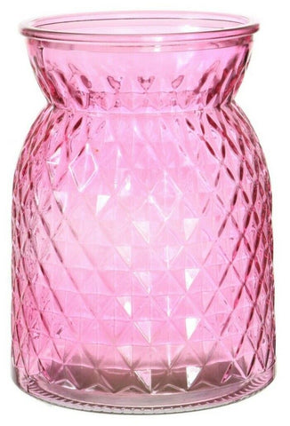 Pink Glass Flower Vase Wide Mouth Flower Vase Waisted Design Etched Design