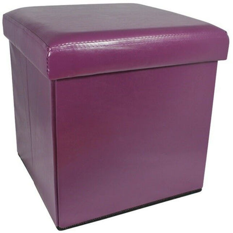 Ottoman Aubergine Purple Pouffe Storage Box Can be Sat On up to 150kg