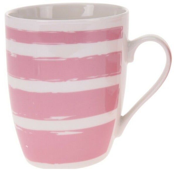Set of 4  Large Coffee Mugs Porcelain Striped 330ml Capacity Bright Colours