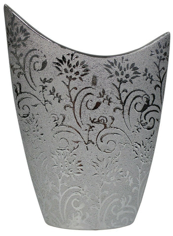 Lesser & Pavey 25cm Unique Design Silver Flower Vase With Silver Design