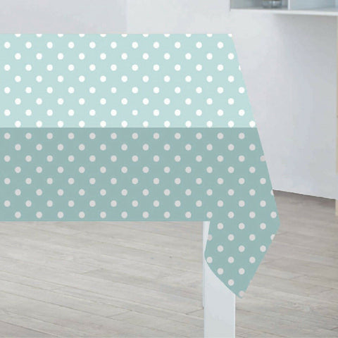 Duck Egg Green Polka Dots PVC Tablecloth Wipe Clean Table Cloth 170cm x 130cm