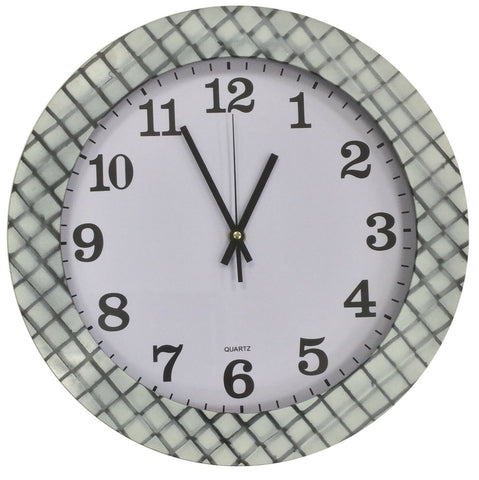 Large 35cm Round Wall Clock With Quartz Movement  & Checkered White Black Frame