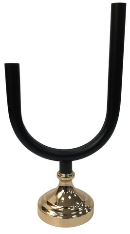 Modern Large 38cm Tall U Shaped Black Candlestick With Gold Base Candle Holder