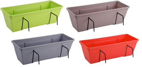 Bright Coloured Double Fence Planters Garden Outdoor Pots Hanging Baskets