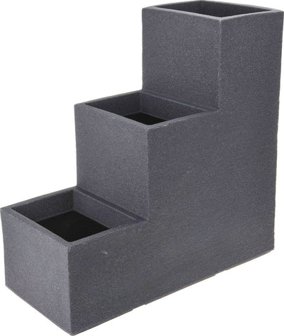 Large 3 Tiered Indoor Outdoor Charcoal Grey Planter Plant Pot Stepped Planter