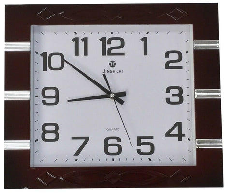 Large 40cm x 35cm Rectangle Wall Clock Maroon Frame With Gloss Silver Stripes