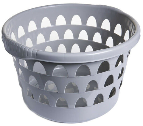 Round Washing Laundry Basket With Textured Handles Colour: Putty. MADE IN THE UK