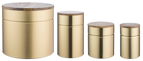 Typhoon Modern Kitchen Storage Canisters Bread Bin Gold Metallic,Acacia Wood Lid