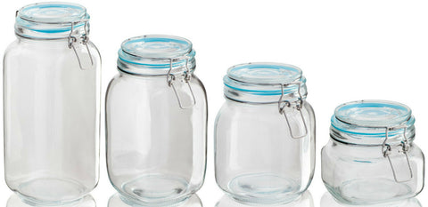 Sabichi Airtight Clip Top Glass Storage Jars Very Large to Small Pasta Jars