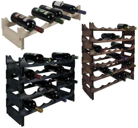 RTA Modular Traditional Wooden Wine Racks 6 - 36 Bottle NO TOOLS NEEDED