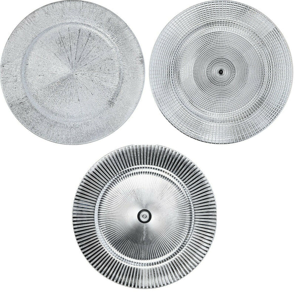 Set of 4 Shiny Silver Charger Plates Under Plates 33cm Premium Range