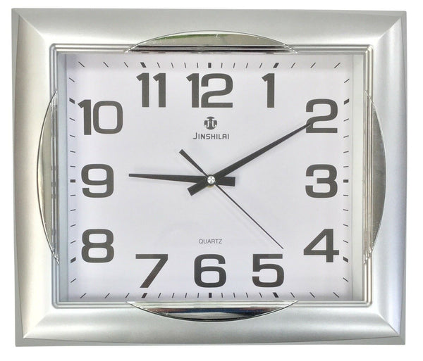 Large 40cm x 35cm Rectangle Wall Clock Matt Silver Frame & Gloss Silver Finishes