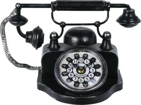 Antique Style Table Office Clock Black Telephone Metal Antique Style