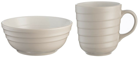 Mason Cash Rippled Design Taupe Large Mug & Cereal Bowl / Soup bowl STONEWARE