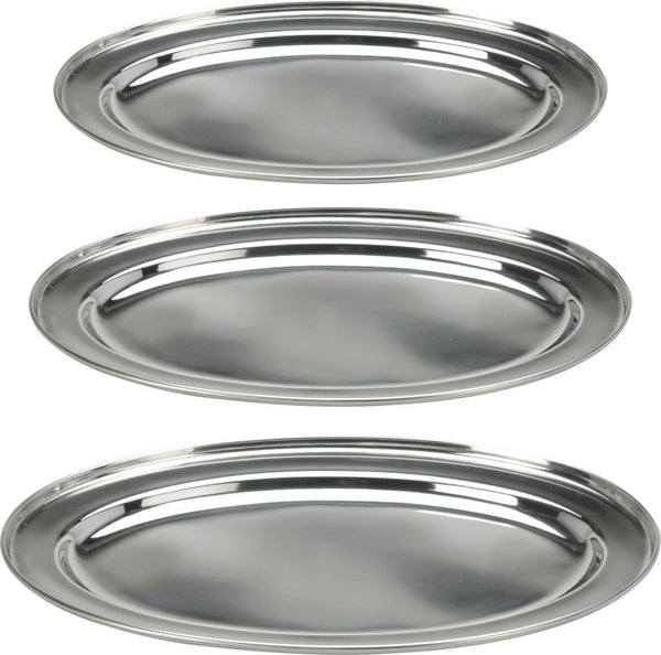 Set of 3 Oval Serving Platters Trays Stainless Steel Dish Large Party Platter