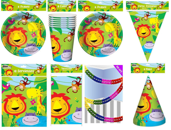 Happy Birthday Party Pack Set Cute Jungle Animals 51 Piece Set Banners Plates