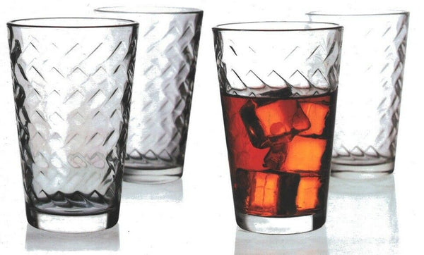 Pasabche Lattice Glass HighBall Tumbler Stackable Water Glasses Set of 4