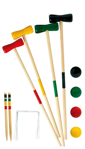 20 Piece Wooden Croquet Set. Set Includes Wooden Mallets Balls Wire Hoops & Pegs