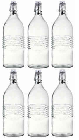 1 Litre Vintage Clip Top Bottles Old Fashioned Glass Bottles Set of 6
