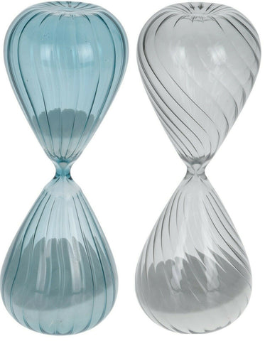 45 Minute Sand Timer Hour Glass Sand Timer Retro Timer Blue Glass & Grey Glass