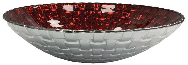 32cm Large Glass Salad Bowl Serving Bowl Platter Silver & Red Gloss