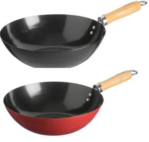 Typhoon Living Non Stick Wok Stir Fry Pan Woks Red Black 11 inch & 9 inch