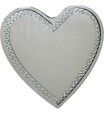 Large Heart Shaped Silver Wall Mirror Diamond Crystals Edging 70cm