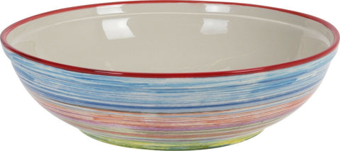 Extra Large Bright Coloured Striped Decor Bowl 38cm Diameter Stoneware