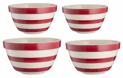 Mason Cash Red Striped Design Ceramic Vintage Kitchen Baking Mixing Salad Bowl