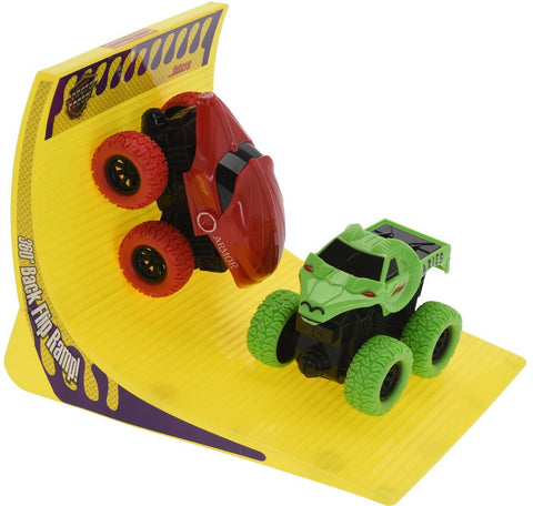 Set of 2 Friction Monster Truck Set Toy Set With Ramp 360 Degree Back Flip