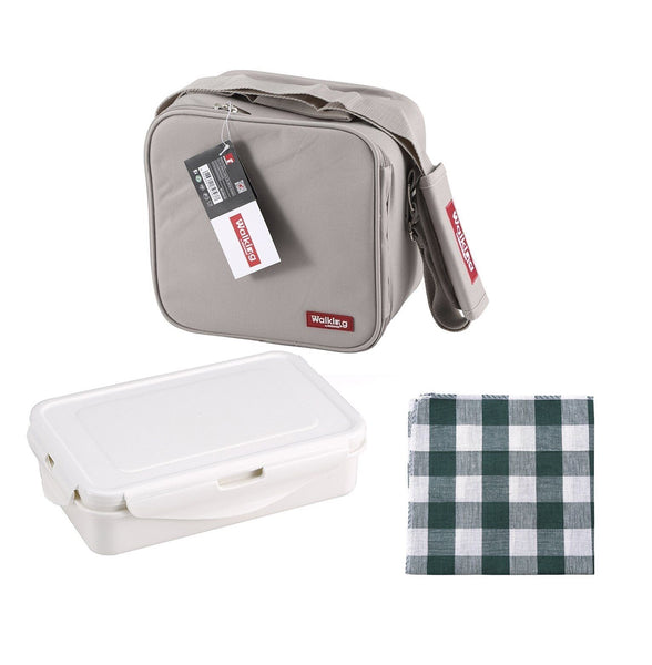 Bergner Grey Lunch Bag Polyester Portable Food Carrier Bag With Shoulder Strap