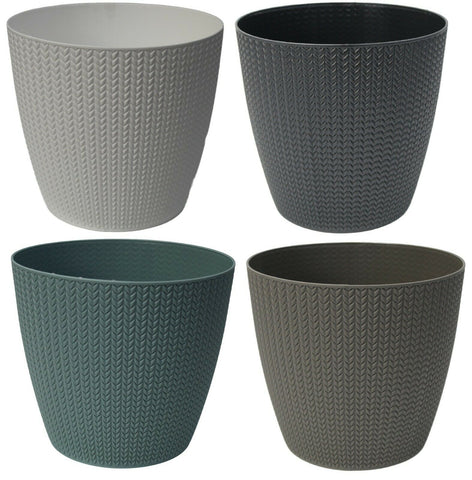 25cm Large Rattan Plant Pot Planter in White Grey Blue & Black