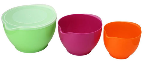 Set of 3 Bright Colours Mixing Bowl With Lid Microwave Safe Food Storage Bowls