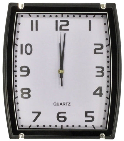 30cm Rectangle Black & Silver Wall Clock Quartz movement