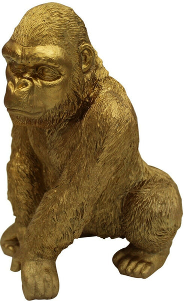 Out Of Africa Jungle Gold Gorilla Figurine Ornament Wildlife Collection 28cm