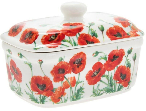 Leonardo Collection Bell Top Fine China Butter Dish Floral Red Poppy Design