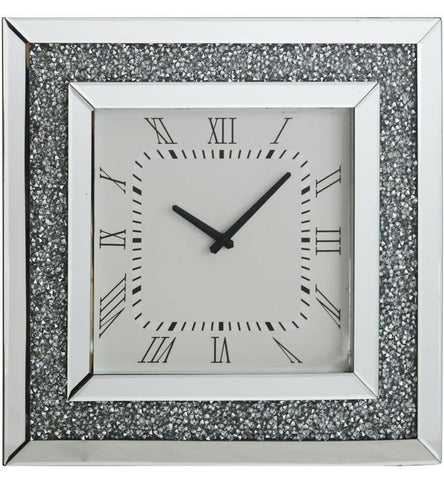 Large Gatsby Mirrored Glass Silver Crushed Diamond Crystal Wall Clock 50 x 50cm