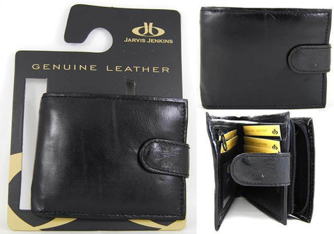 Mens Black Wallet Purse Coin Pouch Real Genuine Soft Leather on Gift Hanger W01