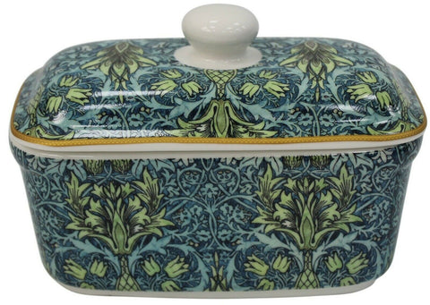 Leonardo Collection Fine China Butter Dish Floral William Morris Snakeshead