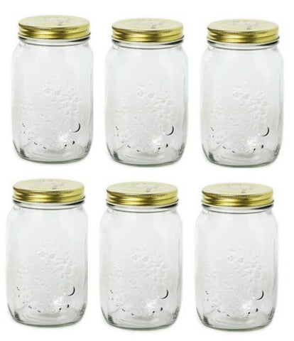 Set Of 6 Clear Glass Storage Jars With Gold Lids Preserving Jars Jam Jars