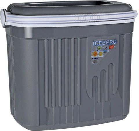 32 Litre or 8 Litre Cooler Box Picnic Insulated Box With Locking Lid Grey
