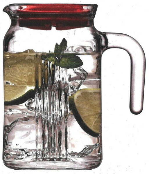 Set of 2 600ml Small Glass Fridge Jug Pitcher Carafe With non Drip Lid and Spout