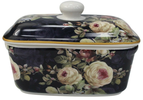 Lenoardo Collection Bell Top Fine China Rose Blossom Floral Butter Dish