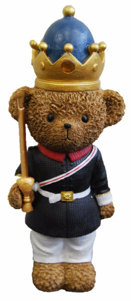Freestanding Bear Soldier Figurine With Hat Holding A Spear Ornament 24 cm Tall