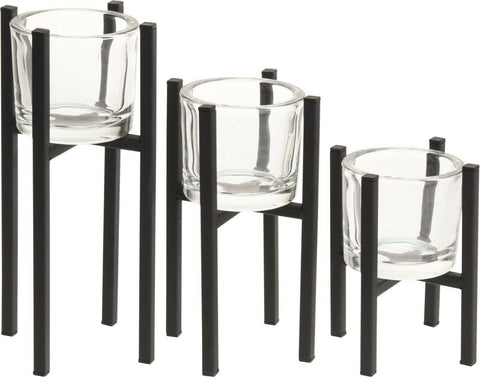 Set of 3 Large Freestanding Tea Light Holder With Glasses Votive Candles Holder